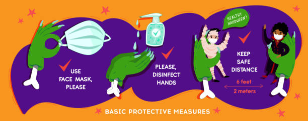 Halloween Coronavirus  social infographic  banner with COVID-19 protection Halloween Coronavirus  social infographic  banner with COVID-19 protection information in cartoon funny festive style. Basic protective measures: Keep distance, disinfect hands, use mask. Vector halloween covid stock illustrations