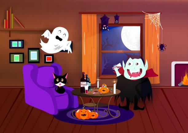 halloween, kostüm cartoon, vampir, spinne, fledermaus und spuk, innere heimat, nacht-party, postkarte, feiern saison hintergrund vektor - kaminverkleidungen stock-grafiken, -clipart, -cartoons und -symbole