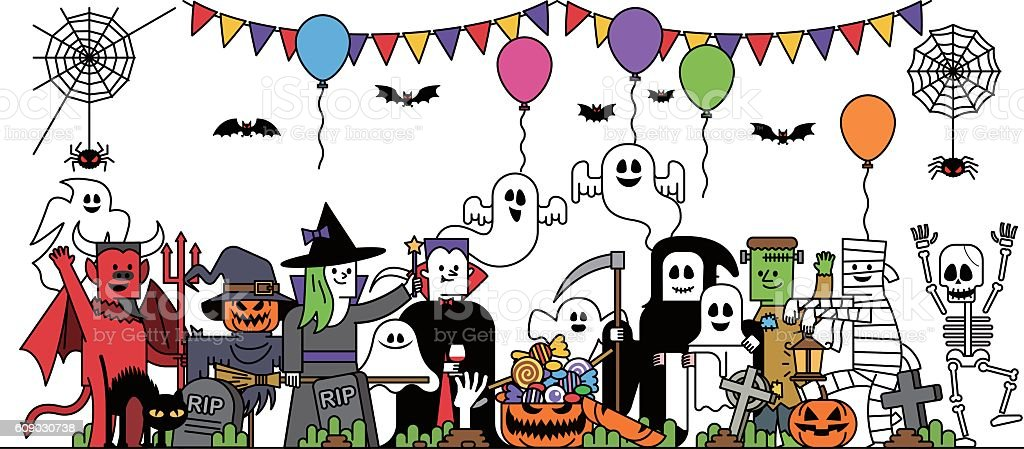 Halloween costume characters vector art illustration