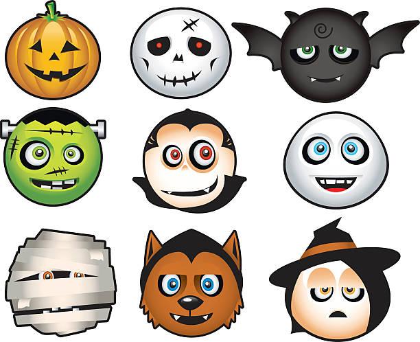 süße halloween-symbol - frankenstein stock-grafiken, -clipart, -cartoons und -symbole
