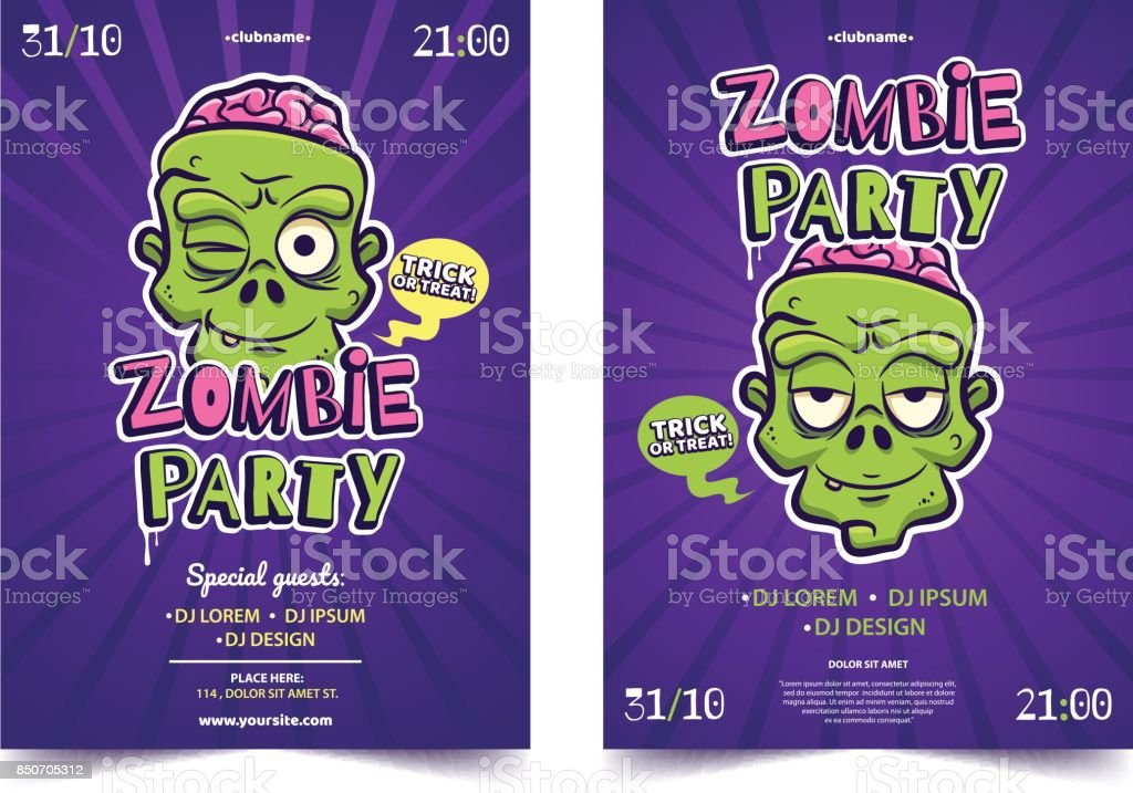 Halloween Costume Party A4 Invitation Concept Funny Cartoon Zomby ...