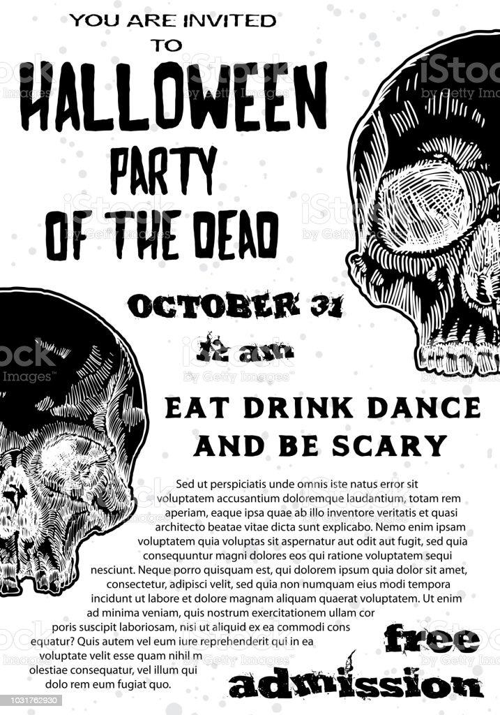 Ilustración de Invitación De Fiesta De Disfraces De Halloween Y ...