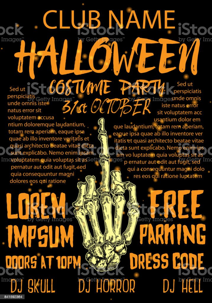 Halloween Costume Party Invitation And Greeting Card Flyer Banner ...