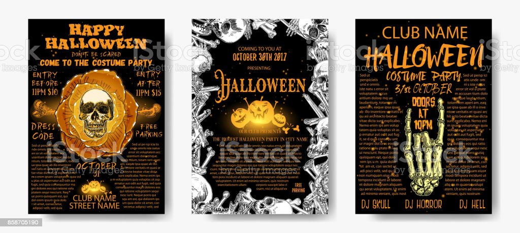halloween costume party invitation and greeting card set flyer