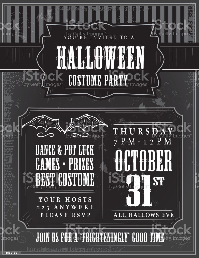 Halloween Costume Party Invitation Design Template Stock Vector Art ...