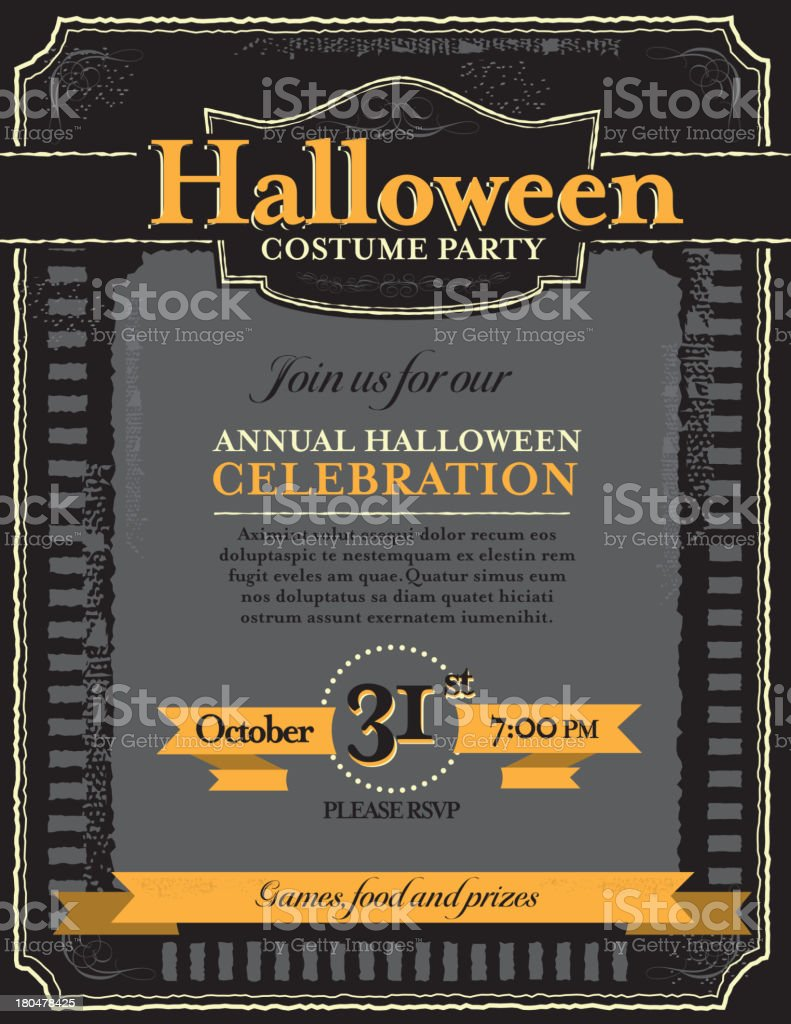 Halloween Costume Party Invitation Design Template stock vector ...