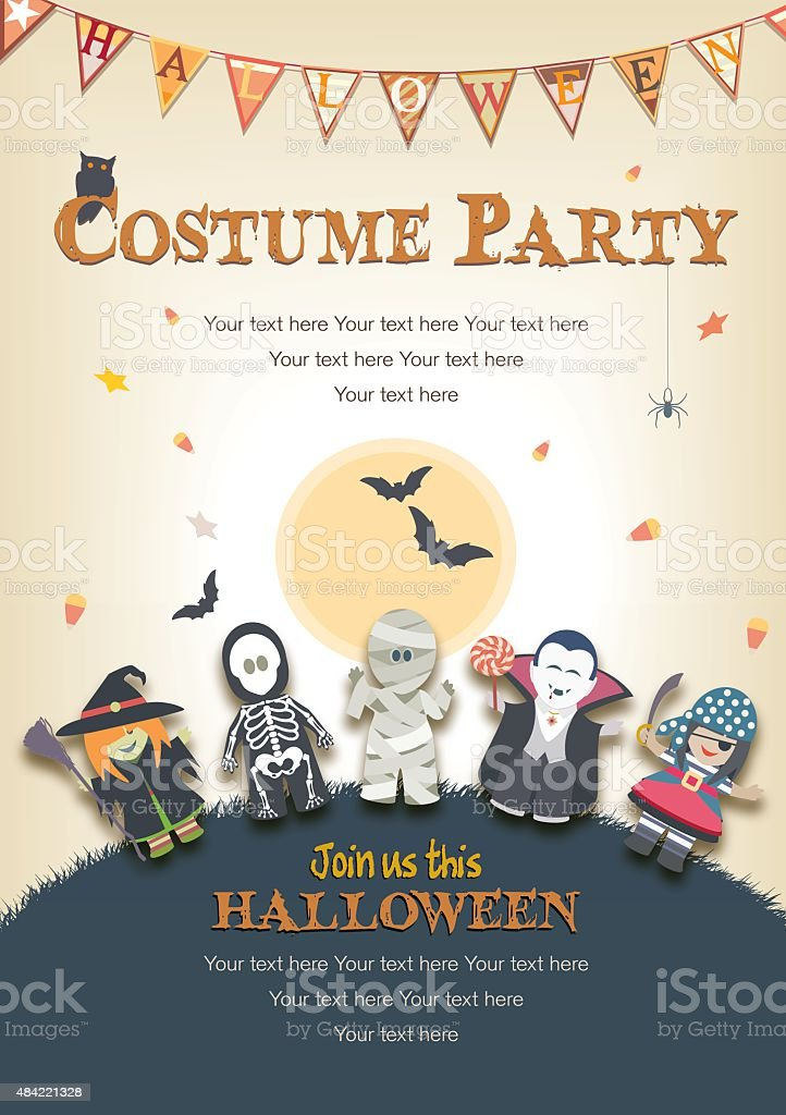 Halloween Kostüm-Party-Einladung – Vektorgrafik