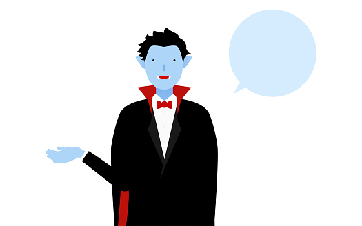 Halloween costume, pose of a man dressed as a vampire talking with his right hand out (with speech bubble)