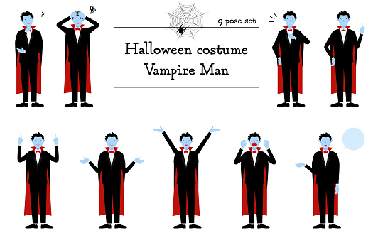 Halloween costume, pose set of a man in vampire costume - talking, worrying, pointing, etc.