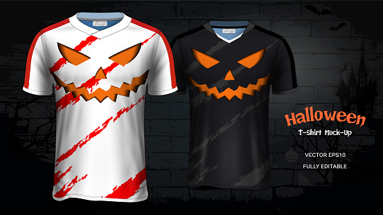Halloween Costume t-Shirts Mockup Templates, Custom Uniforms & Apparel for Everyone Including Sportswear and Souvenirs and it is Fully Customization for Scary Festivals Ideas Concept.