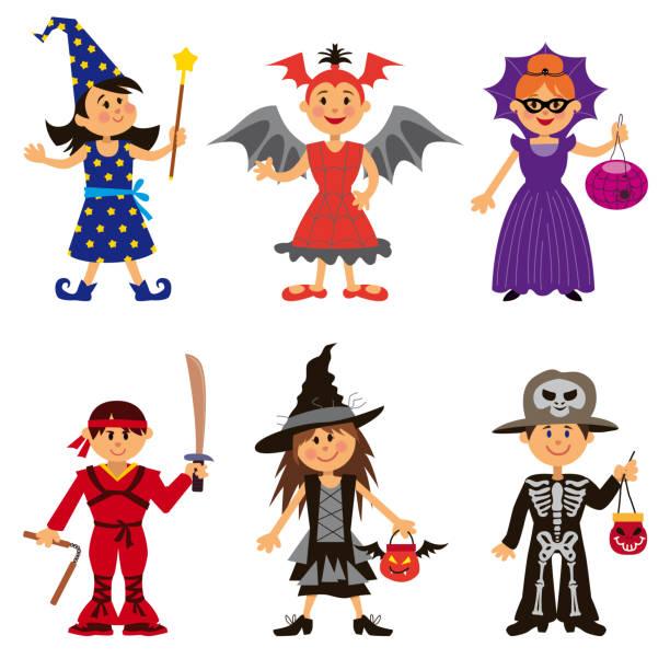 stockillustraties, clipart, cartoons en iconen met halloween kostuums voor cute cartoon kinderen - kostuum