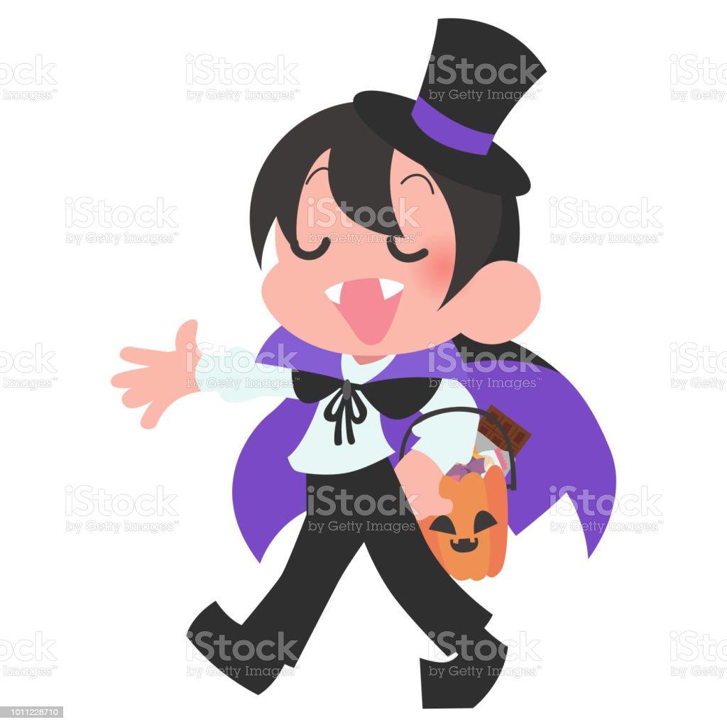 ハロウィン衣装キッズ キャラクター一人 ベクターアートイラスト
