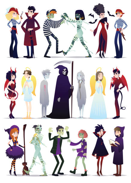 ilustrações de stock, clip art, desenhos animados e ícones de halloween costumes. vector illustration of young people dressed up for halloween masquerade party isolated on white background. couples of halloween characters in cartoon style - fantasia