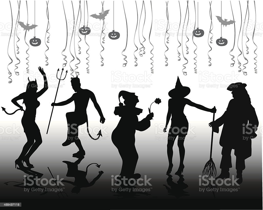Halloween Costumes Vector Silhouette vector art illustration