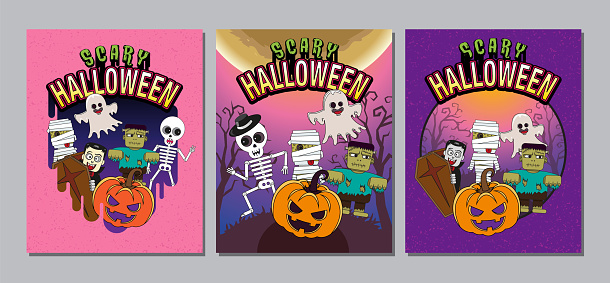 Halloween Cover, Banner ,Ghost , Scary ,spooky ,cartoon character, template Vector illustration.