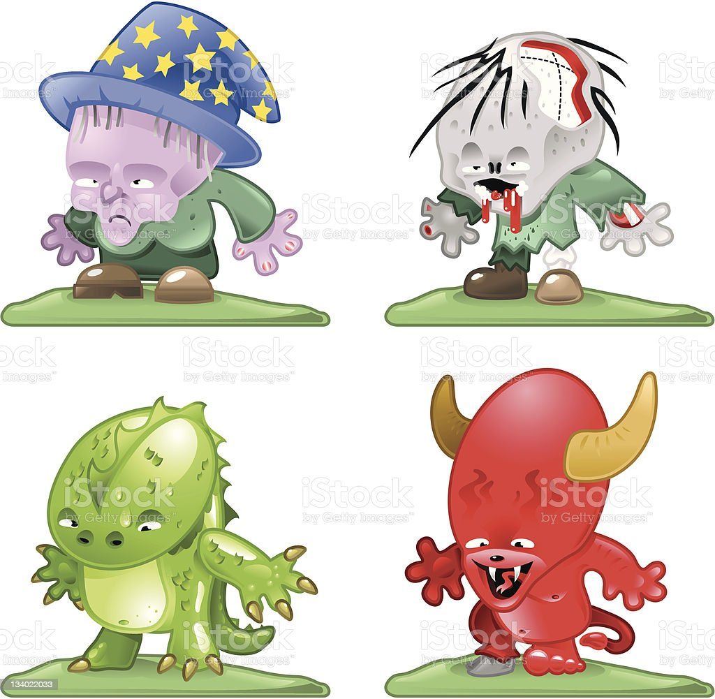 Halloween creatures (witch, zombie, devil) - vector vector art illustration