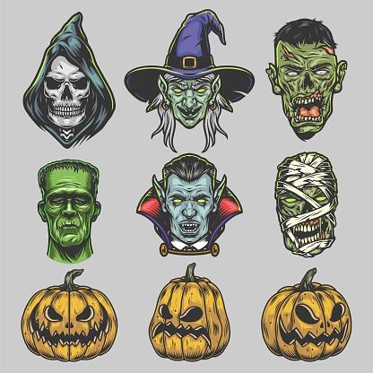 Juego vintage de criaturas de Halloween