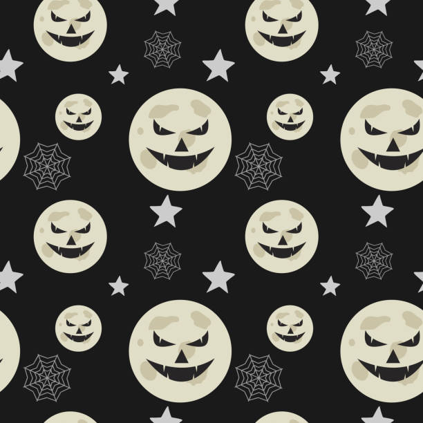 Halloween creepy pumpkin and web spider seamless pattern Halloween creepy pumpkin and web spider seamless pattern. vector illustration for fashion textile print and wrapping with festive design. tarantula stock illustrations