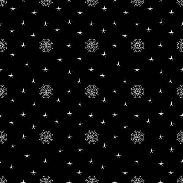 Halloween creepy web spider and star dark seamless pattern Halloween creepy web spider and star dark seamless pattern. vector illustration for fashion textile print and wrapping with festive design. tarantula stock illustrations