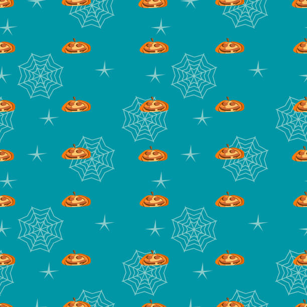 Halloween creepy yellow pumpkin and web seamless pattern Halloween creepy yellow pumpkin and web seamless pattern. vector illustration for fashion textile print and wrapping with festive design. tarantula stock illustrations