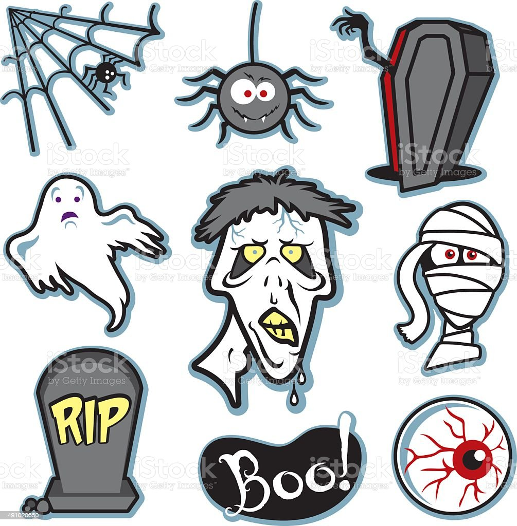 Halloween creepy zombie and mummy illustration set - collection vector art illustration