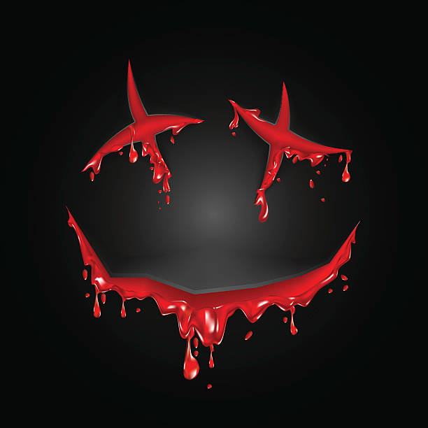 halloween cut blood smile on a black background - vegetable blood stock illustrations, clip art, cartoons, & icons