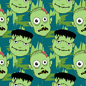Halloween cute and young frankenstein seamless pattern. vector illustration for fashion textile print and wrapping with festive design.