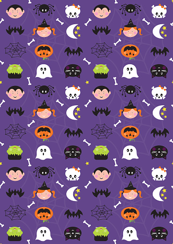 Halloween Cute Character Seamless Repeat Pattern on Purple Background