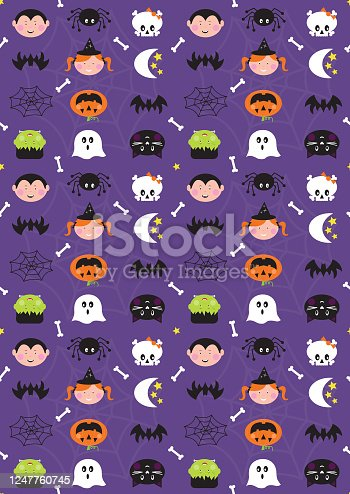 istock Halloween Cute Character Seamless Repeat Pattern on Purple Background 1247760745