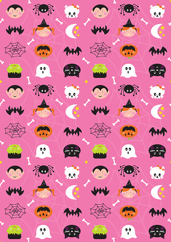 Halloween Cute Character Seamless Repeat Pattern