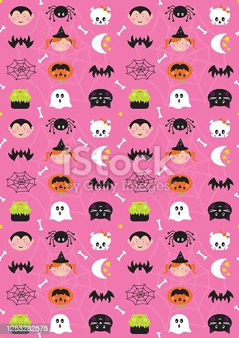 istock Halloween Cute Character Seamless Repeat Pattern 1253282575
