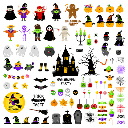 Halloween cute icons vector set. Cartoon style. Kawaii. Holiday symbols.