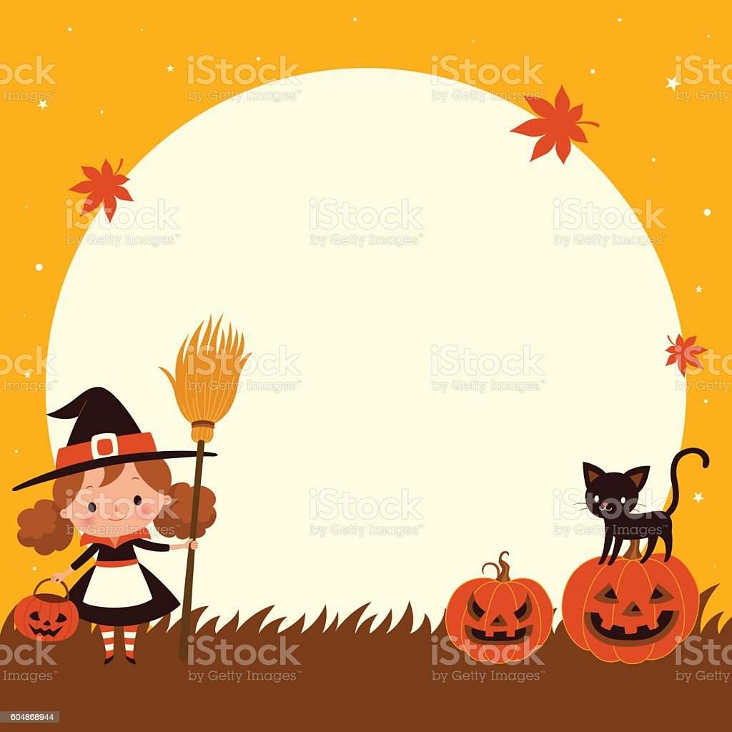 halloween cute little witch with cat halloween background お祝いの