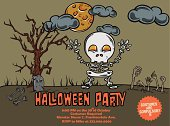 Halloween Cute Monster Party Poster: Skeleton Ghost