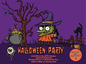 Halloween party poster template with space for text and enough vector elements to create a great web or print design. Main vector cartoon character: The Witch.