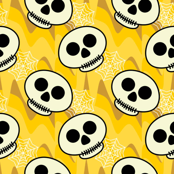 Halloween cute skull with yellow wive seamless pattern Halloween cute skull with yellow wive seamless pattern. vector illustration for fashion textile print and wrapping with festive design. tarantula stock illustrations