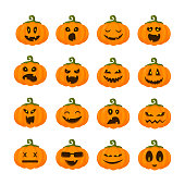 Set of pumpkins emoji for halloween, isolated vector icons on white, funny and scary creepy characters with various facial expressions, traditional jack-o-lantern holiday symbols, flat style