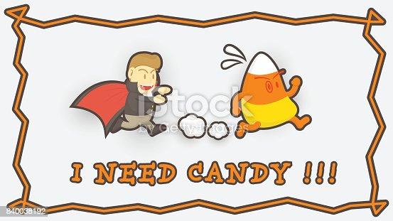 istock Dibujos animados Halloween correr a coger maíz de caramelo ...