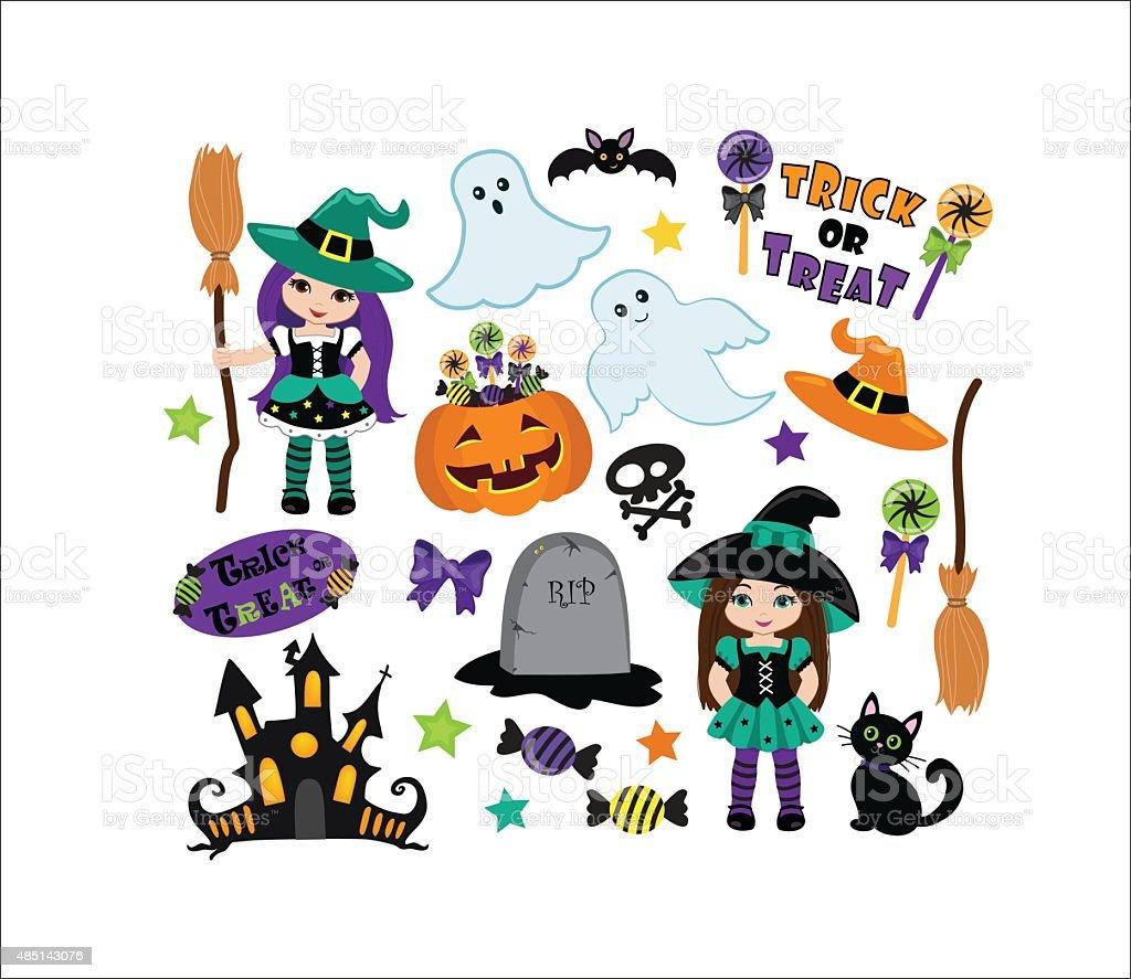 halloween cute witches set stock vector art 485143076 istock