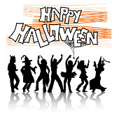 Halloween silhouette illustration of a dance party for adults in costumes