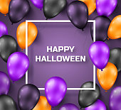 Halloween background with black, violet and orange balloons. Vector illustration. Night party decorations, dark backdrop with thin square frame.