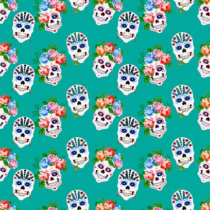 Halloween, Day of  the dead,  Dia de los muertos print background, seamless pattern design