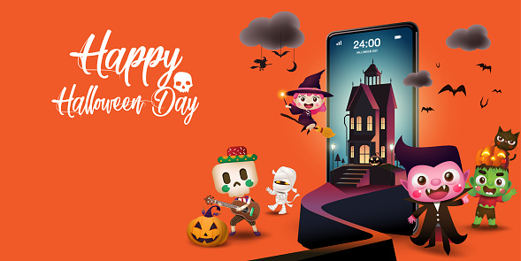 Día de Halloween en el teléfono móvil en el fondo de Orenge