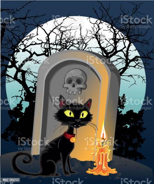 Halloween decoration a grave with a black cat in the night vector id865139202?b=1&k=6&m=865139202&s=612x612&h=mvpmpbyfa ijcwcvqvw2e4shoofrw32uieqce8kcita=