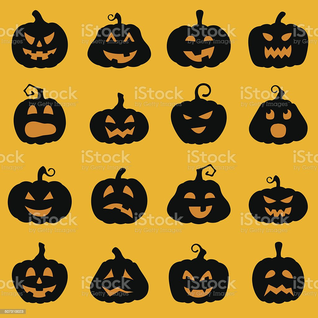 halloween decoration jackolantern silhouette set stock vector art