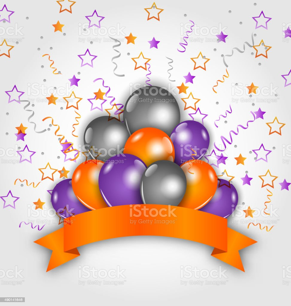 Halloween decoration with balloons, confetti and  ribbon vector art illustration
