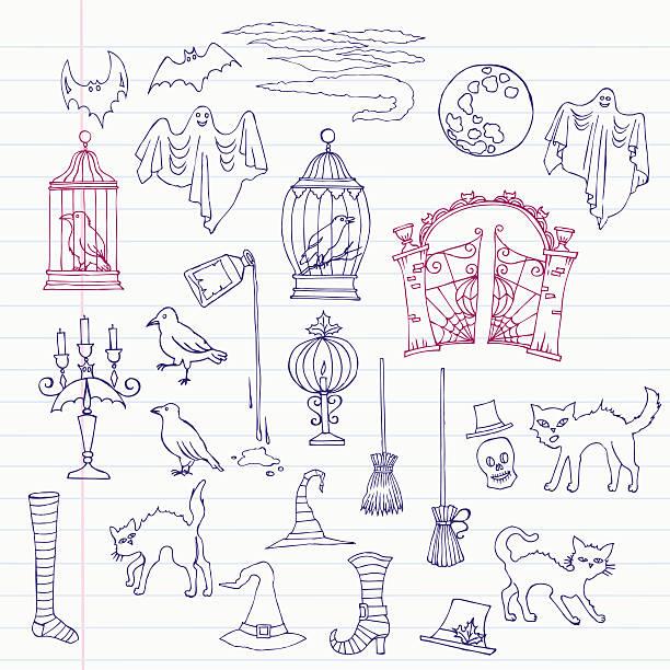 illustrations, cliparts, dessins animés et icônes de halloween decorations illustration - cage animal nuit