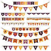 Halloween Decorations Set in Flat Style