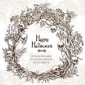 ハロウィーン装飾的な花輪・ パーティーへの招待状のためのフレーム
