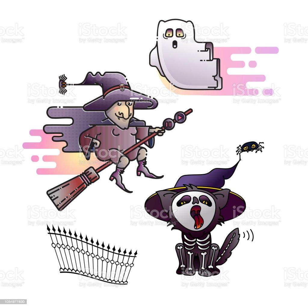 Vetores De Desenho De Halloween Icones Coloridos De Bruxa Fantasma